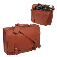 Deluxe Top Grain Leather Buckle Close Briefcase in Tan