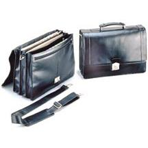 Stebco Black Leather Briefcase with Shoulder Strap by Stebco