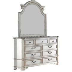 Kyle Antique White 2 Pieces Dresser and Mirror Set