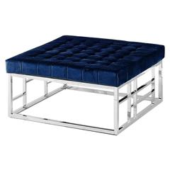 Blue Velvet with Stainless Steel Square Accent Ottoman