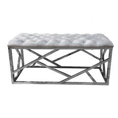 Grey Velvet With Stainless Steel Bench
