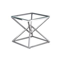 Clear Glass With Stainless Steel Side Table