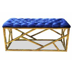 Blue Velvet With Gold Plated Bench