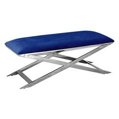 Blue Velvet With Stainless Steel Accent Bench