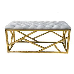 Grey Velvet With Gold Plated Bench