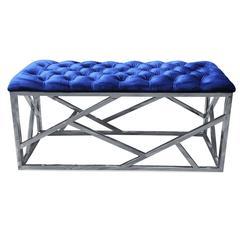 Blue Velvet With Stainless Steel Bench
