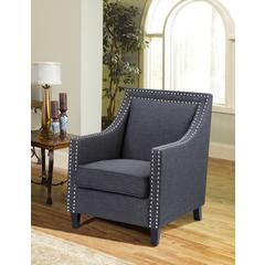 Charcoal Fabric with Nailheads Accent Chair