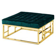 Green Velvet with Gold Plated Square Accent Ottoman