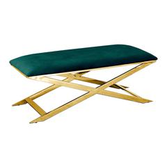 Green Velvet With Gold Plated Accent Bench
