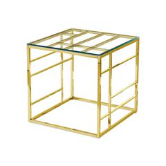 Clear Glass With Stainless Gold Plated End Table