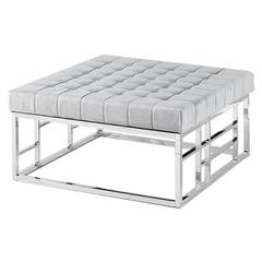 Gray Velvet with Stainless Steel Square Accent Ottoman
