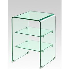 2-piece Clear Glass with shelves End Tables