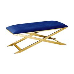 Blue Velvet WithGold Plated Accent Bench