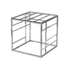 Clear Glass With Stainless Steel Square End Table