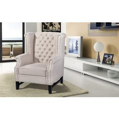 Taupe Fabric with Nailheads Accent Chair