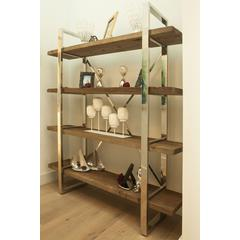 Henna Jade 80-Inch Long Stainless Steel and Elm Bookshelf