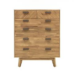 Kensington 48-Inch Tall Acacia Wood Dresser with Sand Finish