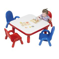 """BaseLine® Toddler 30"""" Square Table & Chair Set - Candy Apple Red"""