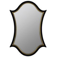 Elin Mirror, Antique Gold and Glossy Black Finish, Beveled Mirror