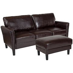 Bari Upholstered Sofa and Ottoman in Brown Leather