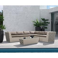 Contemporary Outdoor Waikiki 7-Piece Outdoor Wicker Sectional set with Taupe Cushions