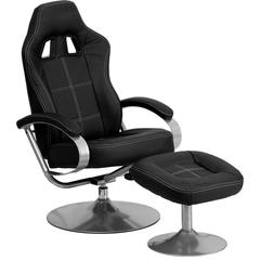 Racing Style Black Vinyl Recliner and Ottoman