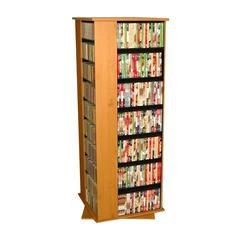 Revolving Media Tower Grande, 24 x 24 x 63, Walnut