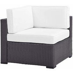 Biscayne Corner Chair With White Cushions