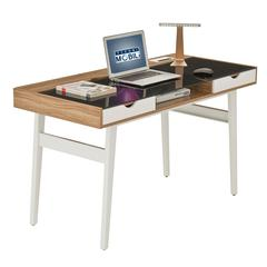 Compact Computer Desk with Multiple Storage. Color: Walnut