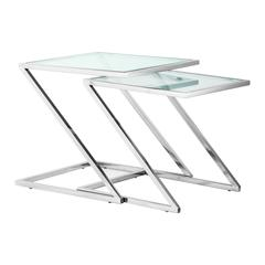 ZuoMod Jaunt Nesting Side Table Clear Glass