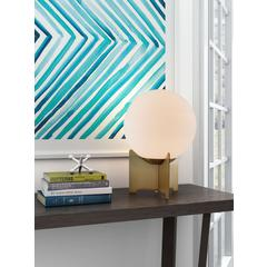 Pearl Table Lamp White & Brushed Bronze