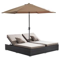 ZuoMod Atlantic Double Chaise Lounge Espresso