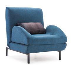 ZuoMod Conic Arm Chair Sleeper Cowboy Blue Body & Shadow Grid Cushion