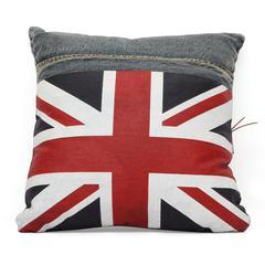 ZuoMod Cowboy Cushion Blue Denim w/ UK Flag