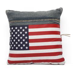 ZuoMod Cowboy Cushion Blue Denim w/ USA Flag