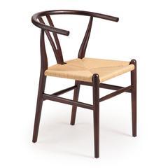 ZuoMod Polk Chair Dark Walnut & Natural Wicker, Set of 2