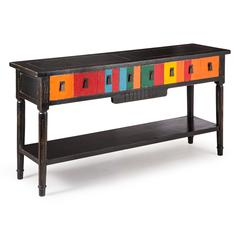 ZuoMod Vidal Console Table Multicolor Distressed Black