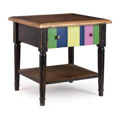 Holloway Side Table Natural Top, Distressed Black & Multicolor Frame