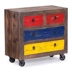 Ramsell Cabinet Multicolor Distressed Natural