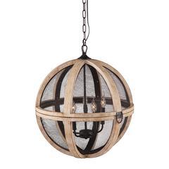 ZuoMod Magma Ceiling Lamp Distressed Oak & Black Mesh