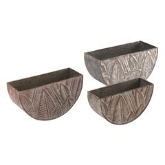 Leaves Set Of 3 Planters Multicolor