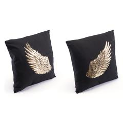 Metallic Wings Set Of 2 Pillows Blk & Gd
