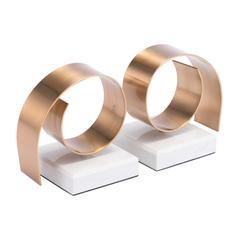 Rizz Bookends White & Gold