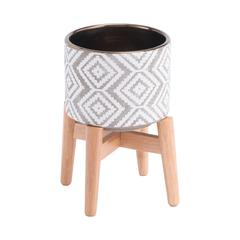 Llano Sm Planter Gray & White