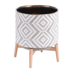 Llano Lg  Planter Gray & White