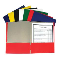Recycled Two-Pocket Paper Portfolios, Assorted, 1/EA (Set of 100 EA)