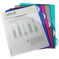 C-Line Biodegradable 5-Tab Poly Binder Index Dividers with Slant Pockets, Assorted, 5/PK (Set of 6 PK)