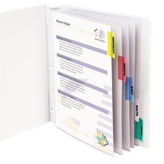 Polypropylene Sheet Protector with Index Tabs, Assorted Color Tabs, 11 x 8 1/2, 5/ST (Set of 6 ST)