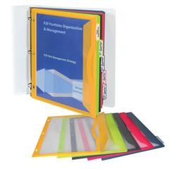 Binder Pocket with Write-on Index Tabs, Assorted, 8 1/2 x 11, 5/ST (Set of 6 ST)
