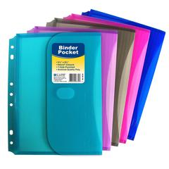 Mini Size Binder Pocket, Side Loading, 1 Pocket (Color May Vary) (Set of 18 EA)
